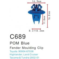 5 Clip Azul Moldura Toyota
